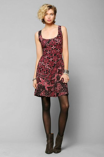 Urban Outfitters Ecote Boho Print Knit Skater Dress in Red (MAROON) Lyst