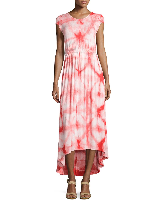 Neiman marcus Tie-dye Short-sleeve Maxi Dress in Red (BLUE ...