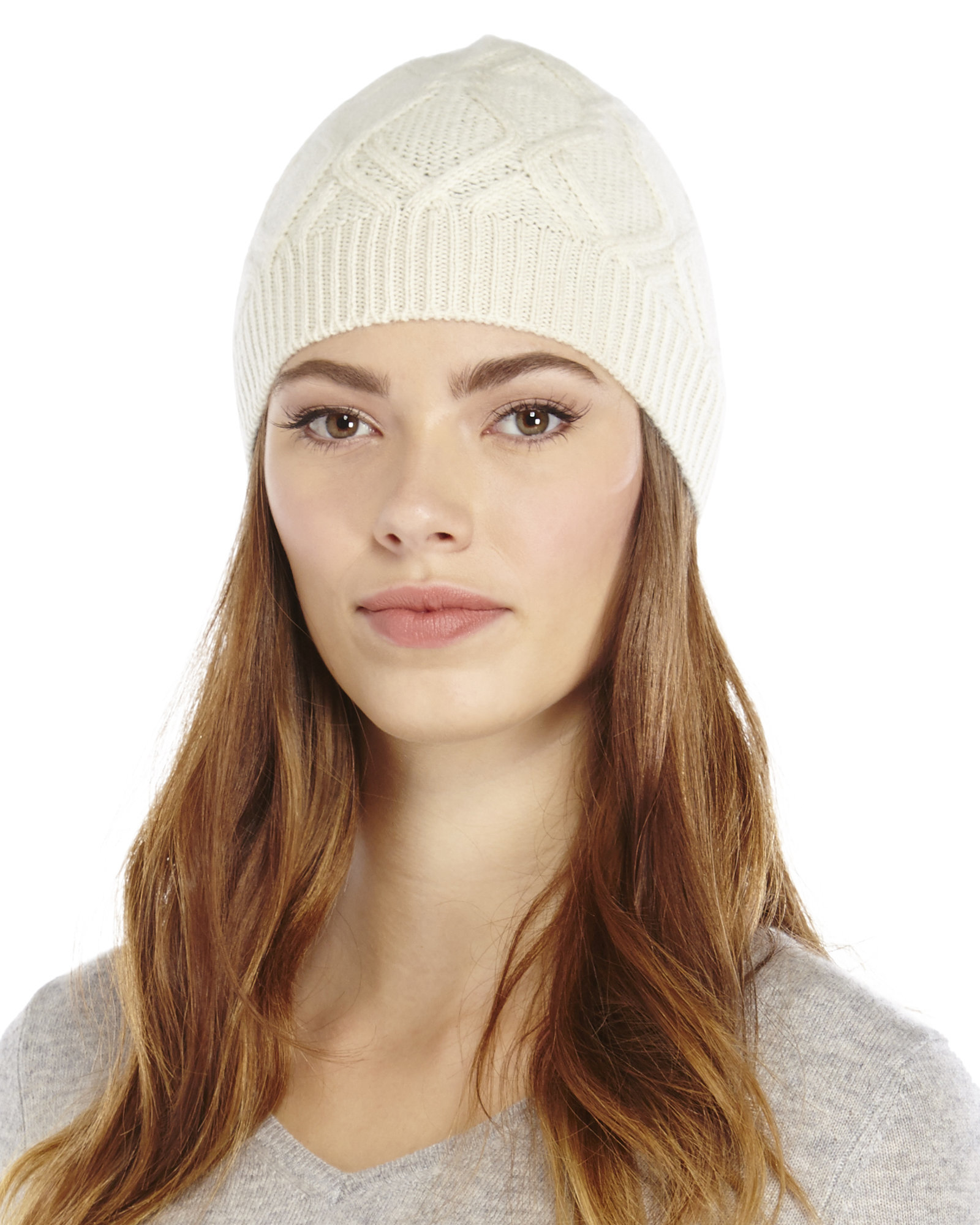 1d0bd570b68 Forte Cashmere Wondering Cable Knit Hat in White - Lyst
