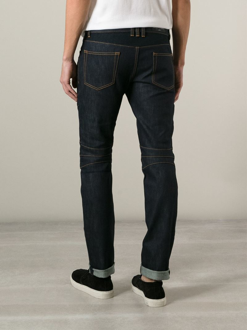 Balmain Ribbed Detail Jeans in Blue for Men