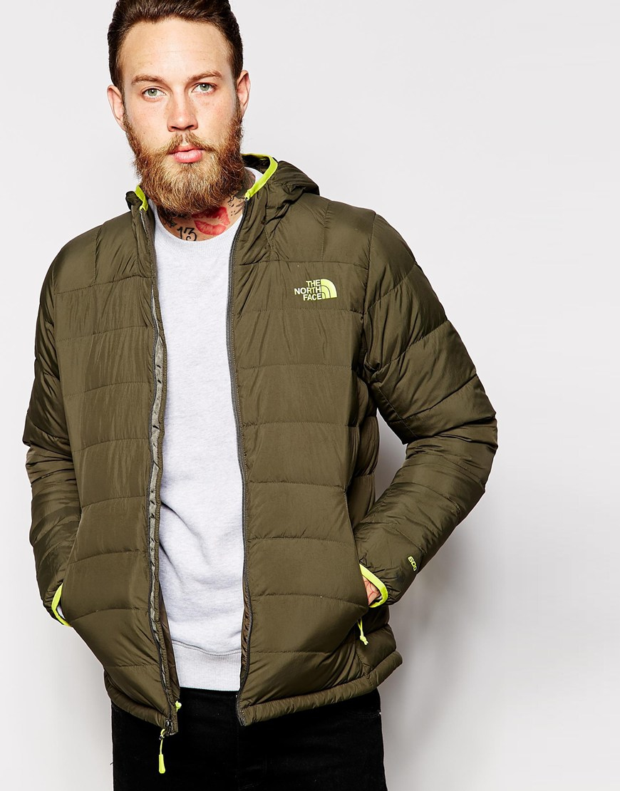 the north face la paz down jacket with hood in green for men lyst. Black Bedroom Furniture Sets. Home Design Ideas