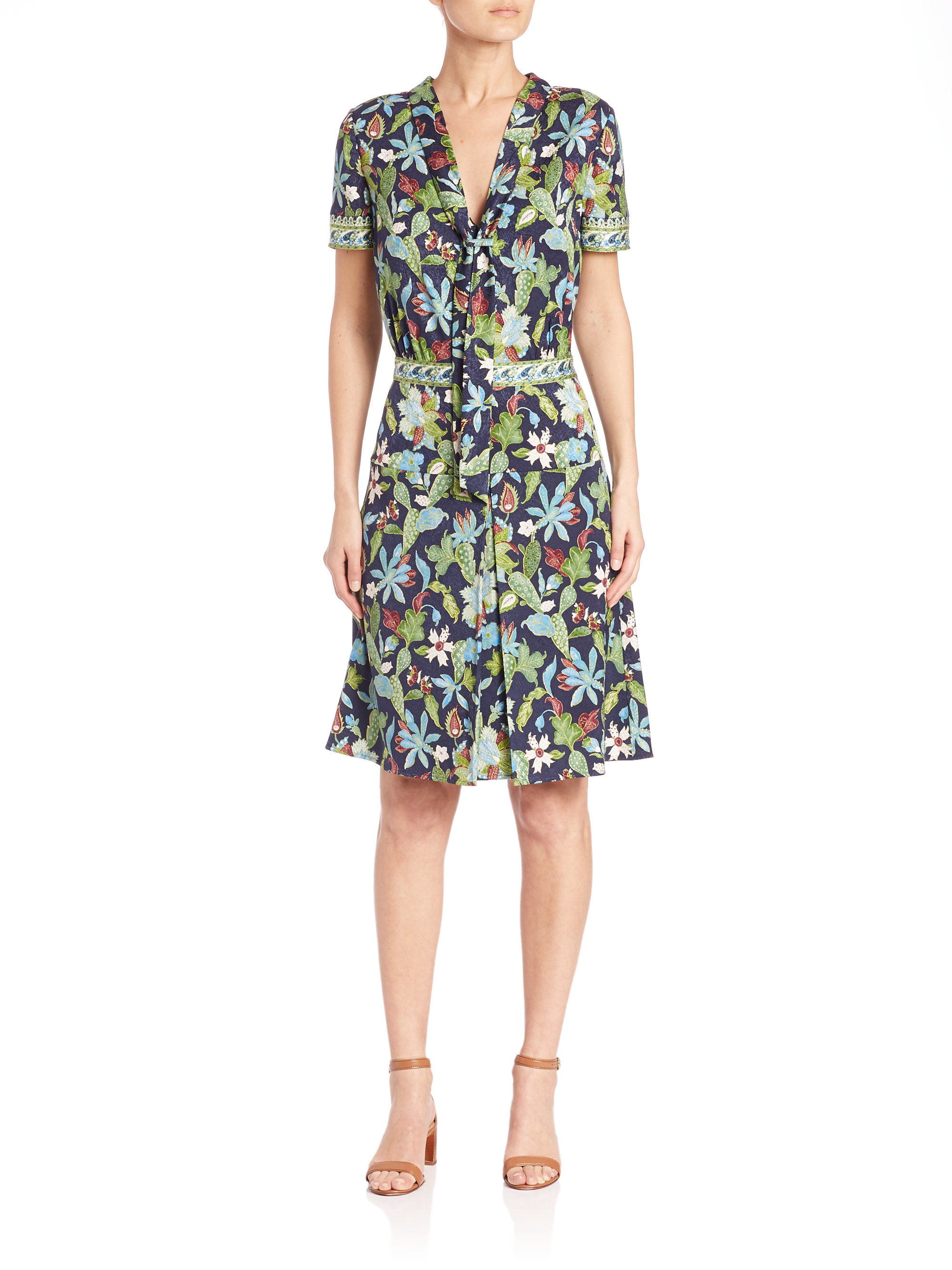 Tory burch floral print tie neck dress lyst for Tory burch fashion island