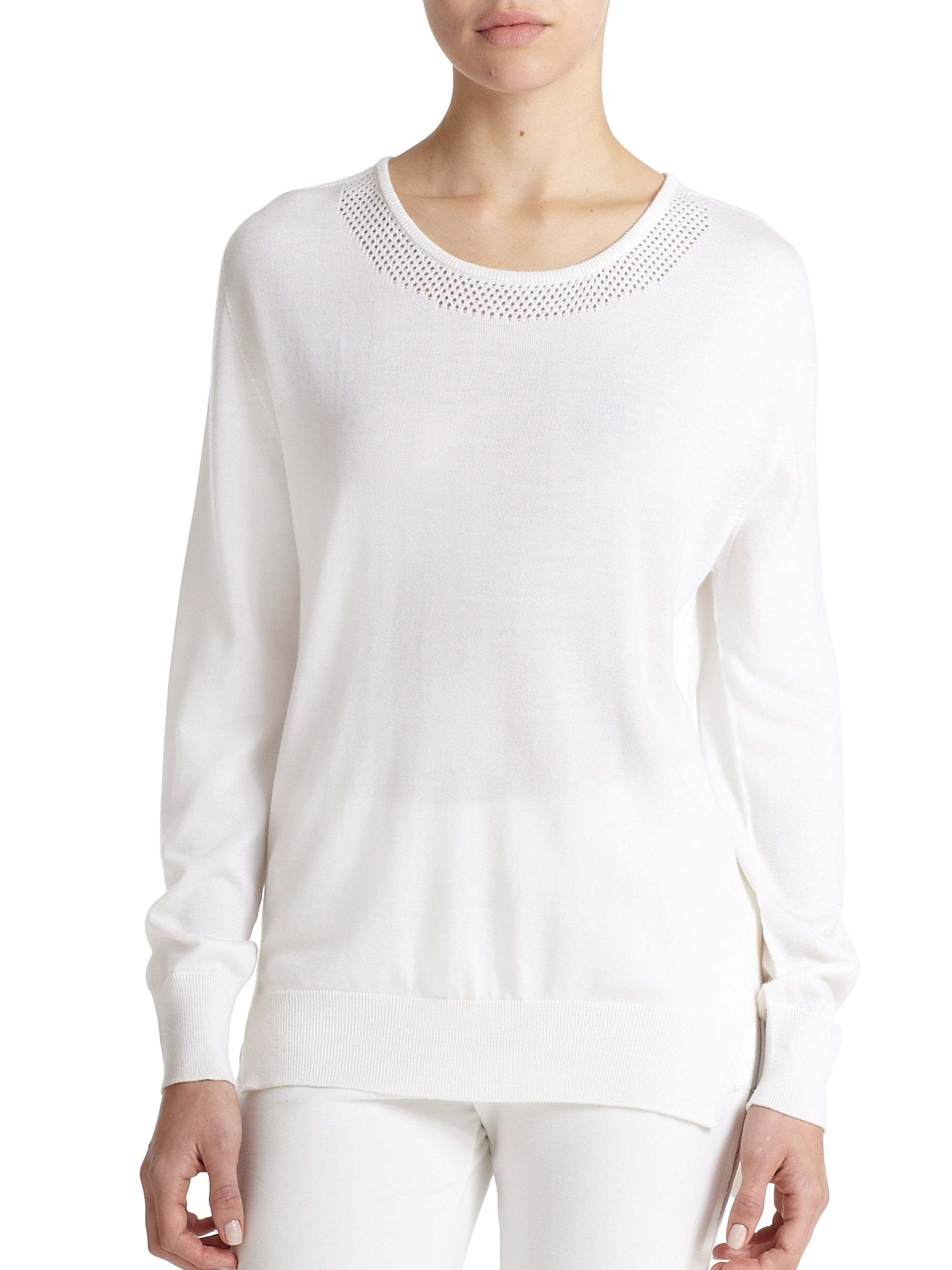 edc179c91 Lyst - Callens Perforated Cashmere Sweater in White