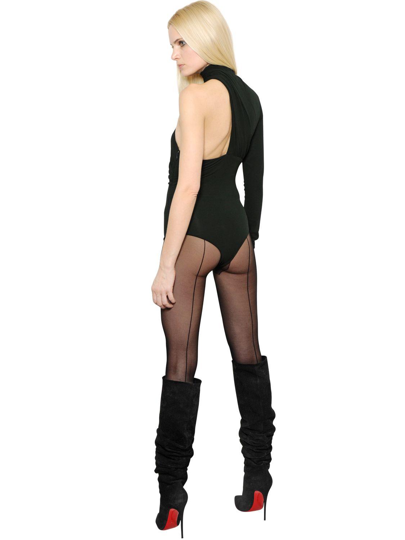 Lyst - Alexandre Vauthier Asymmetrical Stretch Jersey Bodysuit in Green 29653d2e0