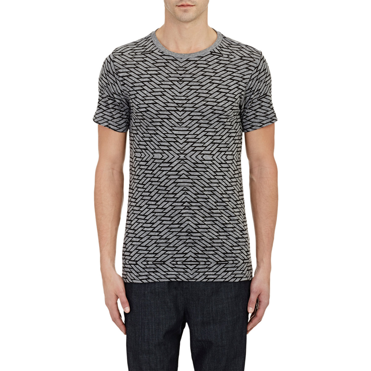 Barneys new york geometric print t shirt in gray for men for New york printed t shirts