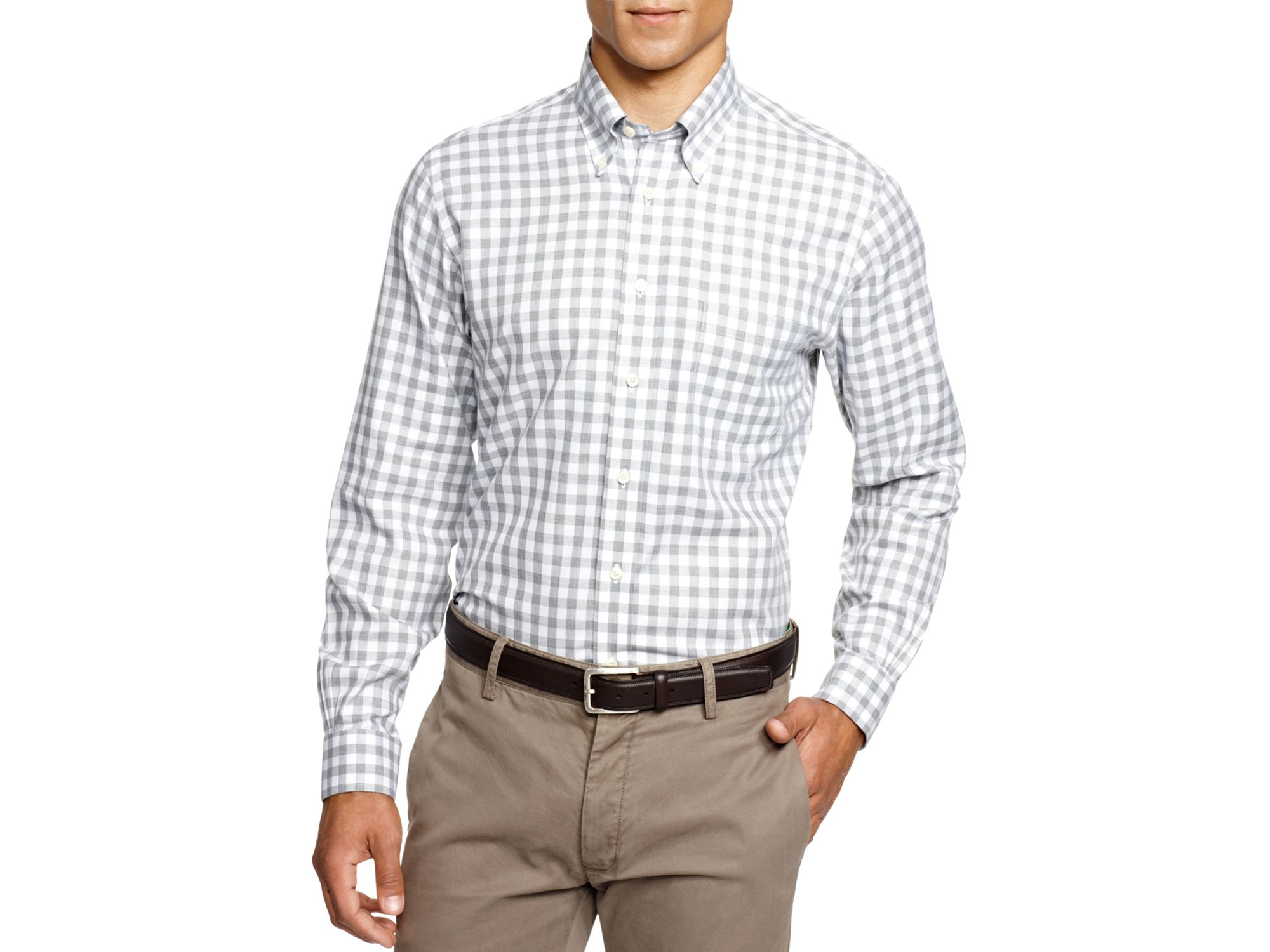 Brooks brothers heathered gingham regular fit button down Brooks brothers shirt size guide