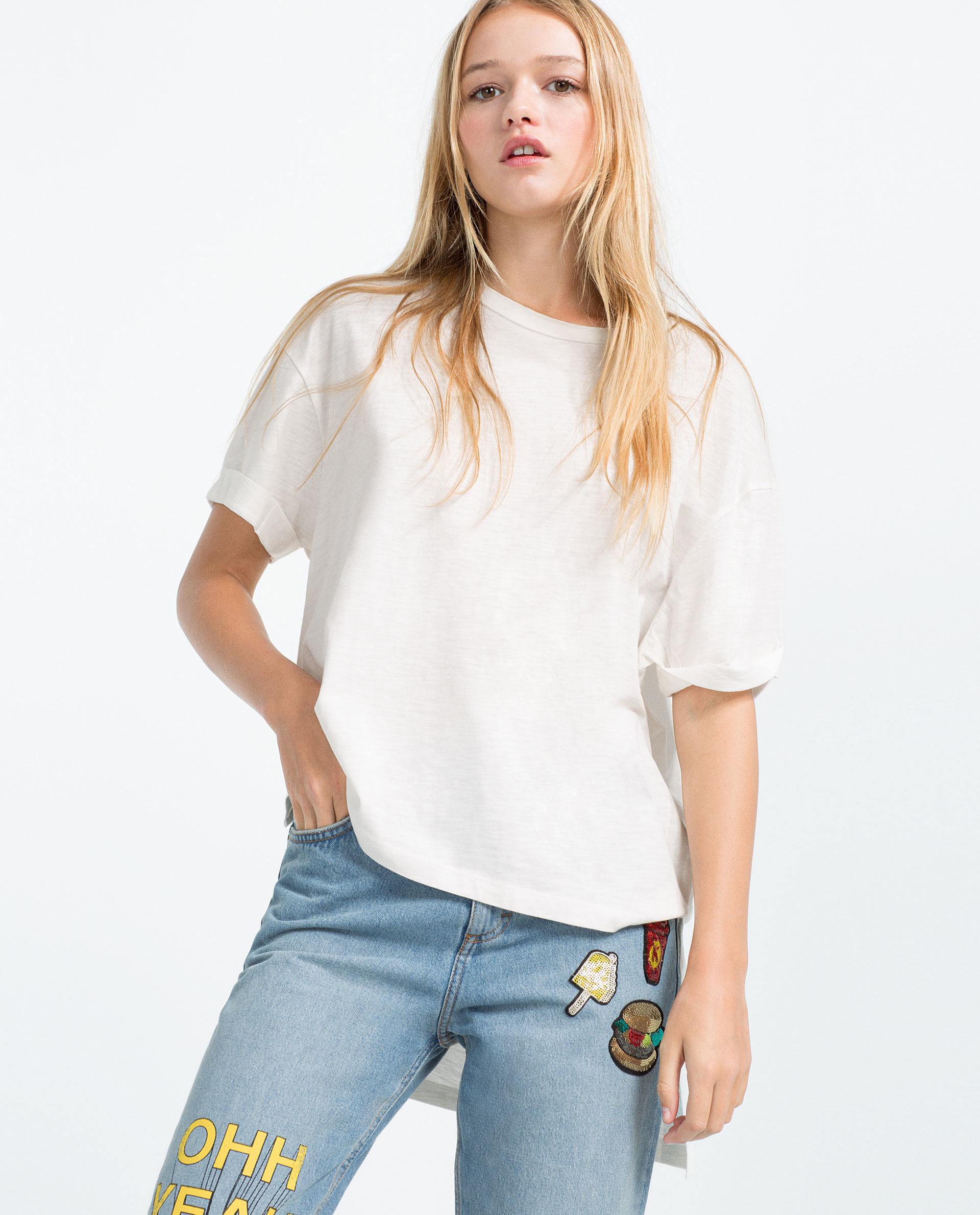 zara asymmetric hem t shirt in white lyst
