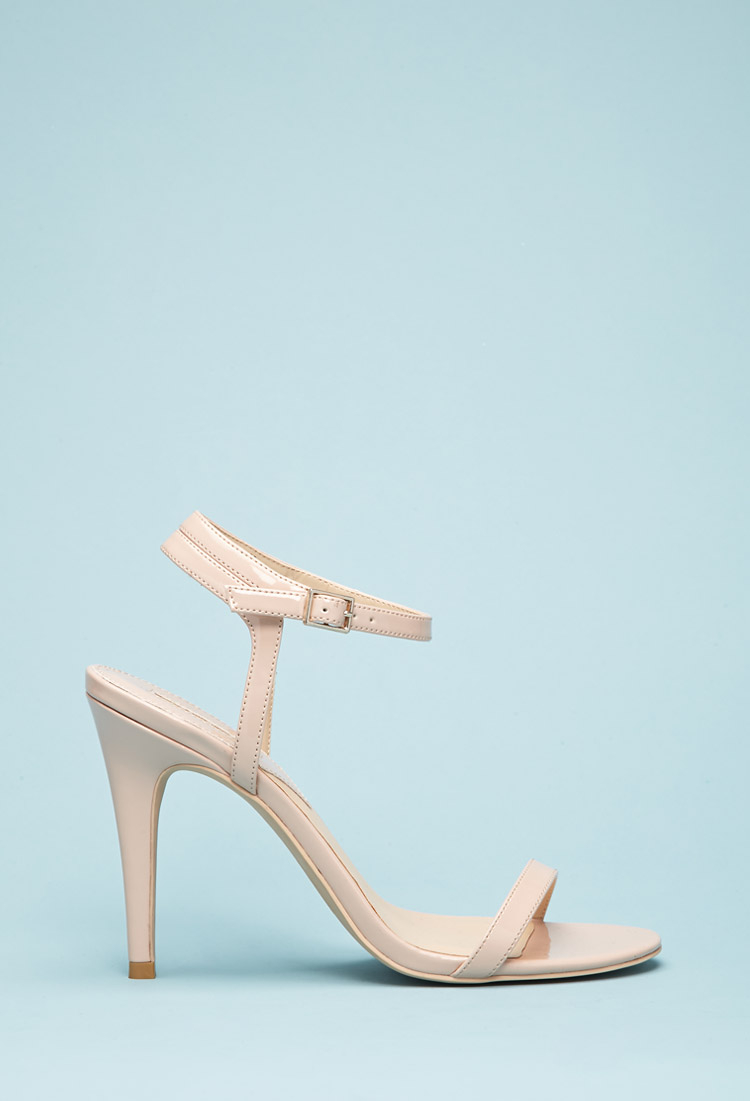 a9b3add1a8e6 Lyst - Forever 21 Faux Patent Leather Strappy Sandals You ve Been ...
