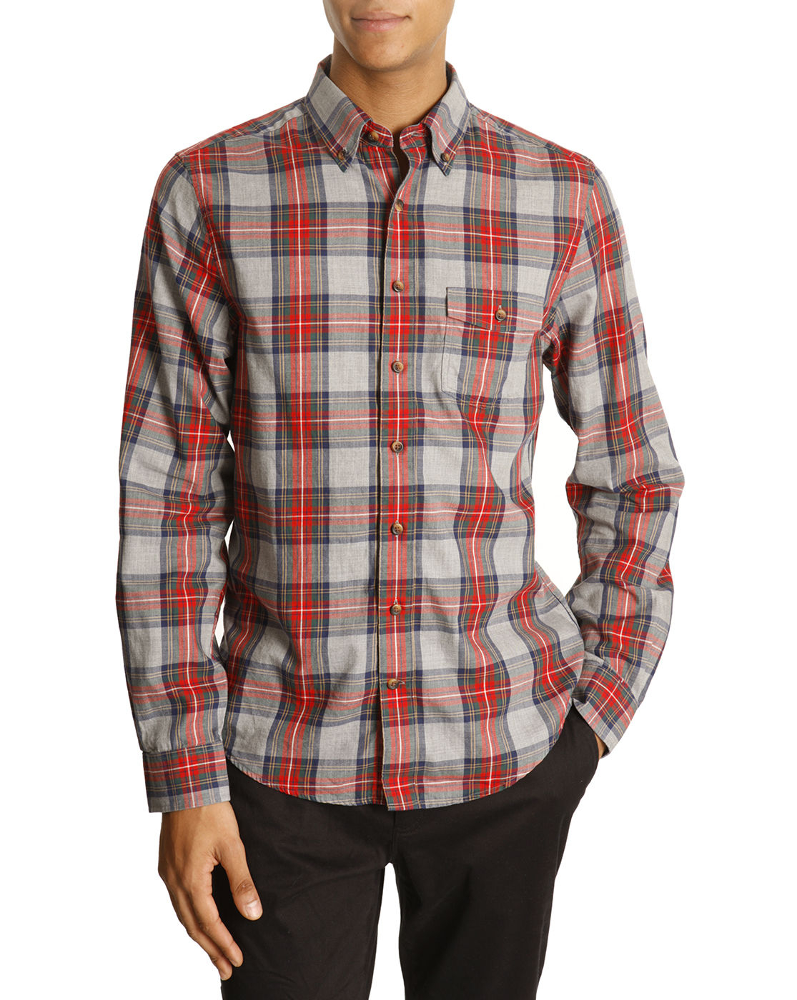 gant grey and red plaid shirt in gray for men grey lyst