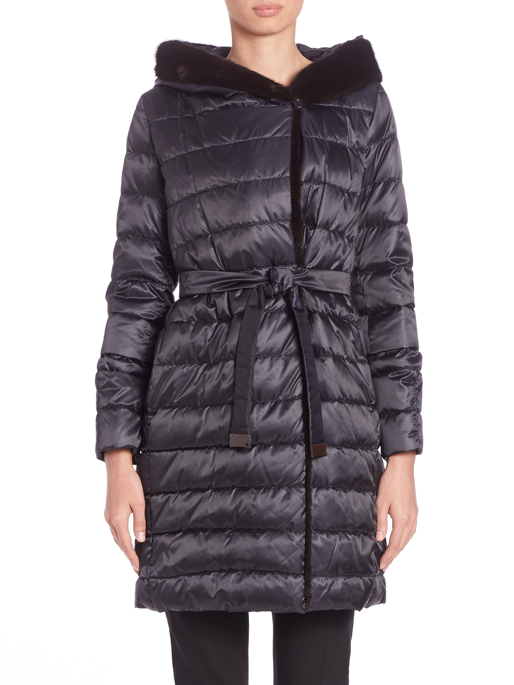 Lyst Max Mara Cube Collection Mink Fur Trim Quilted