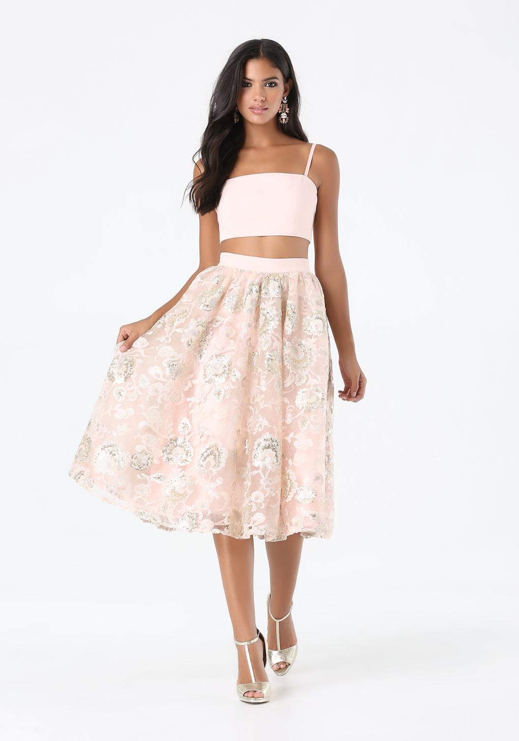 Bebe 2-piece Sequin Skirt Dress in Pink | Lyst