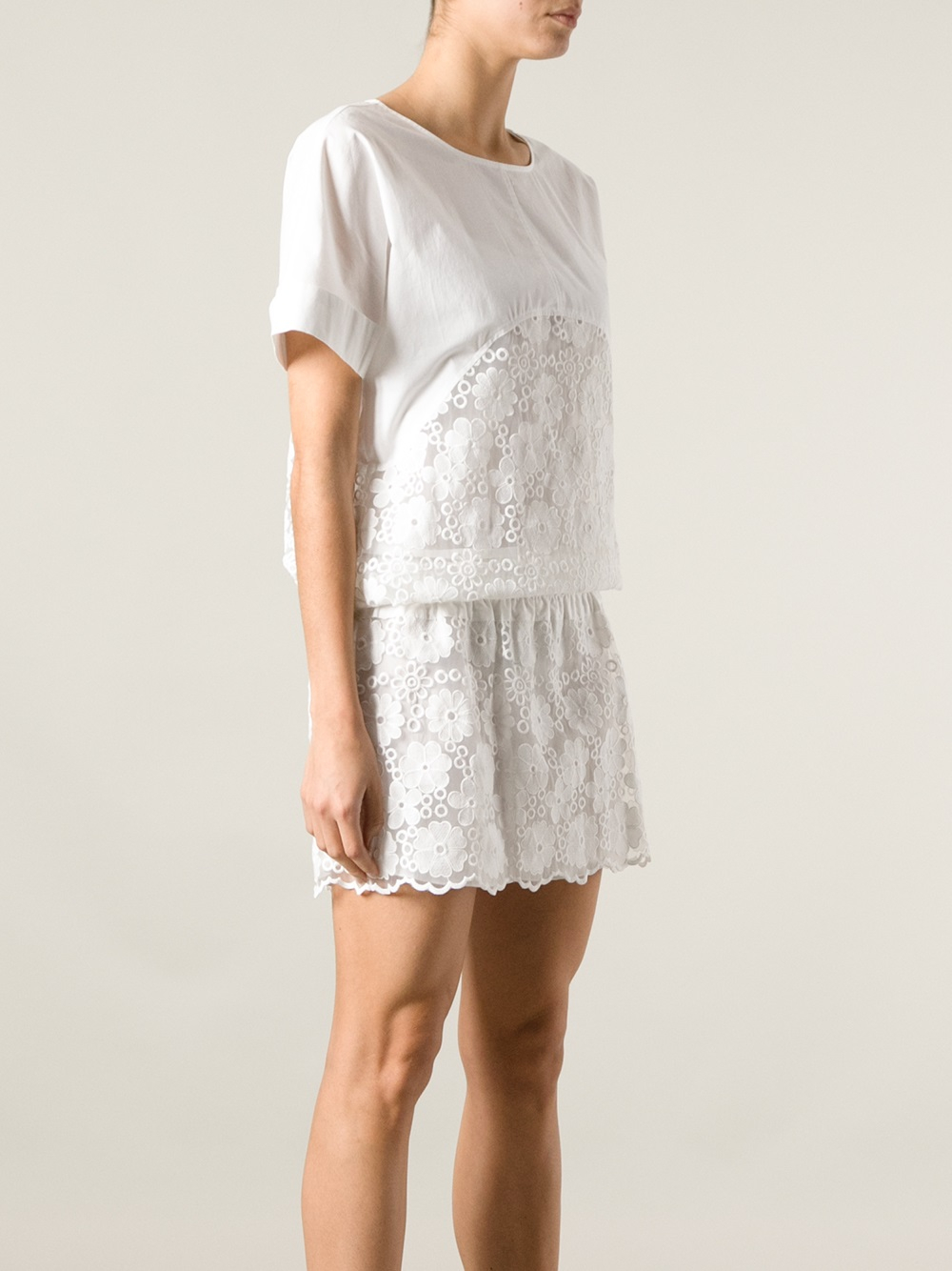 See by chloé embroidered organza dress in white lyst