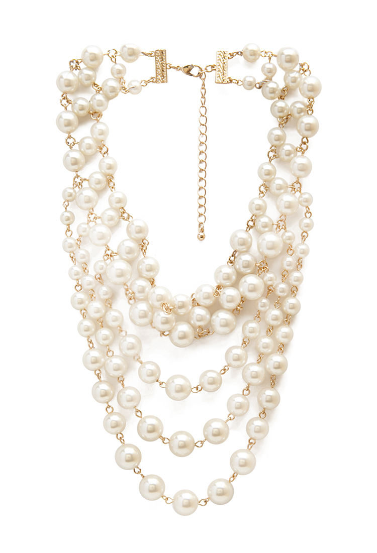 Lyst Forever 21 Layered Faux Pearl Necklace In White
