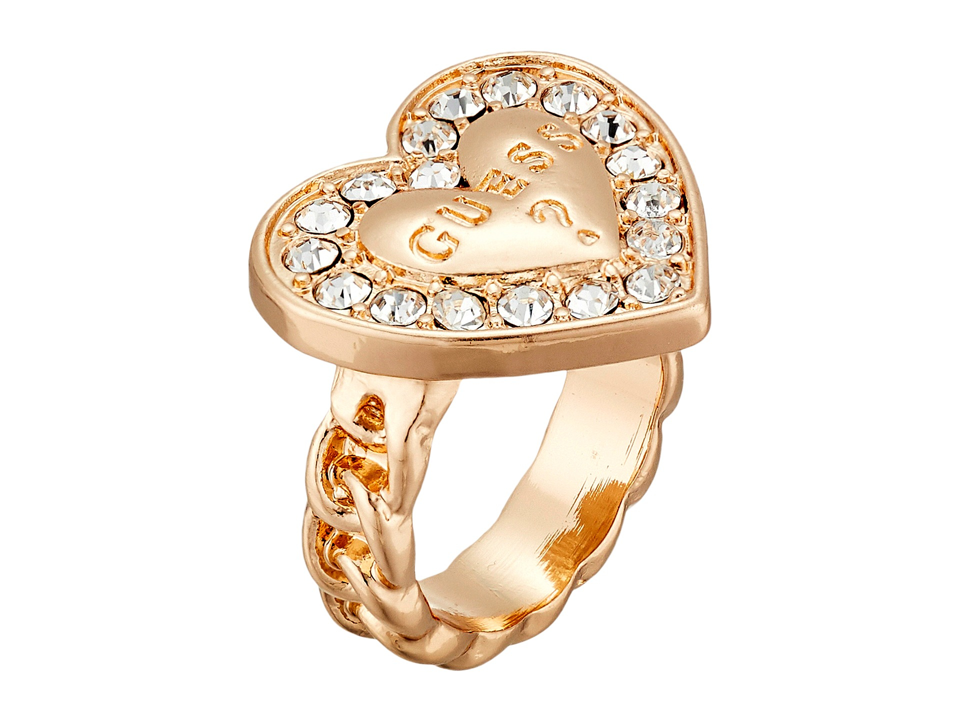 Lyst Guess Stone Framed Logo Heart Ring In Metallic