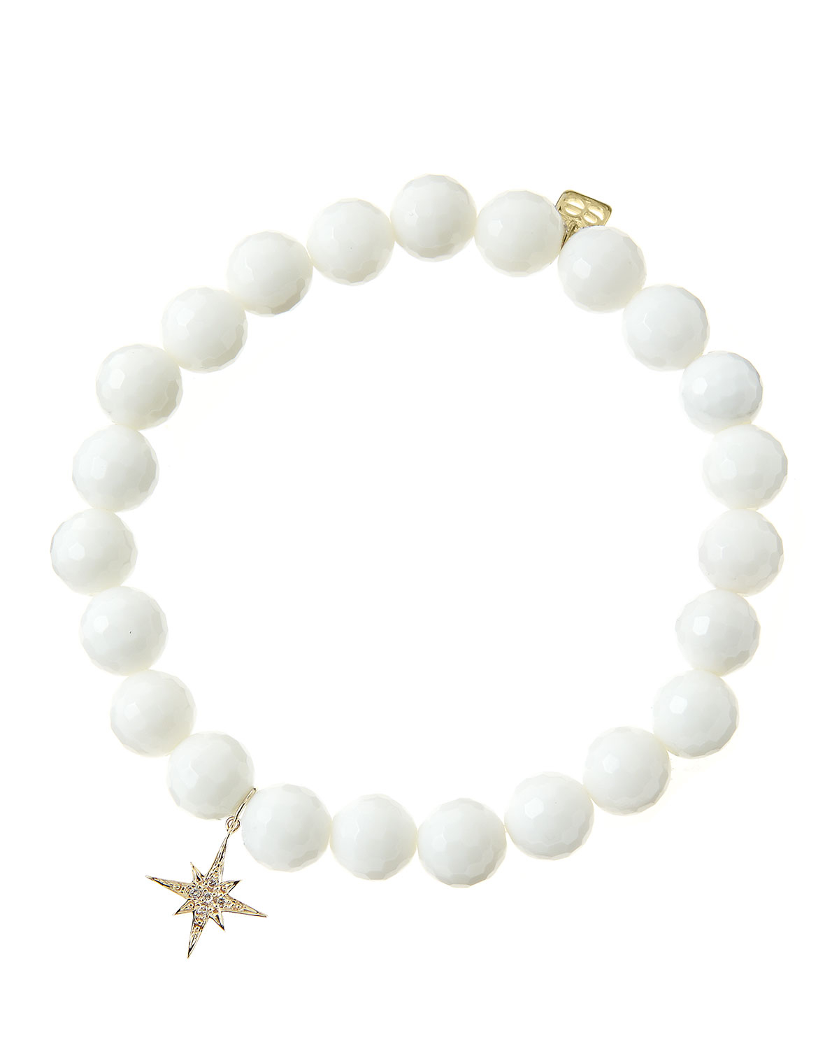 Sydney Evan 8mm Faceted White Agate Beaded Bracelet With
