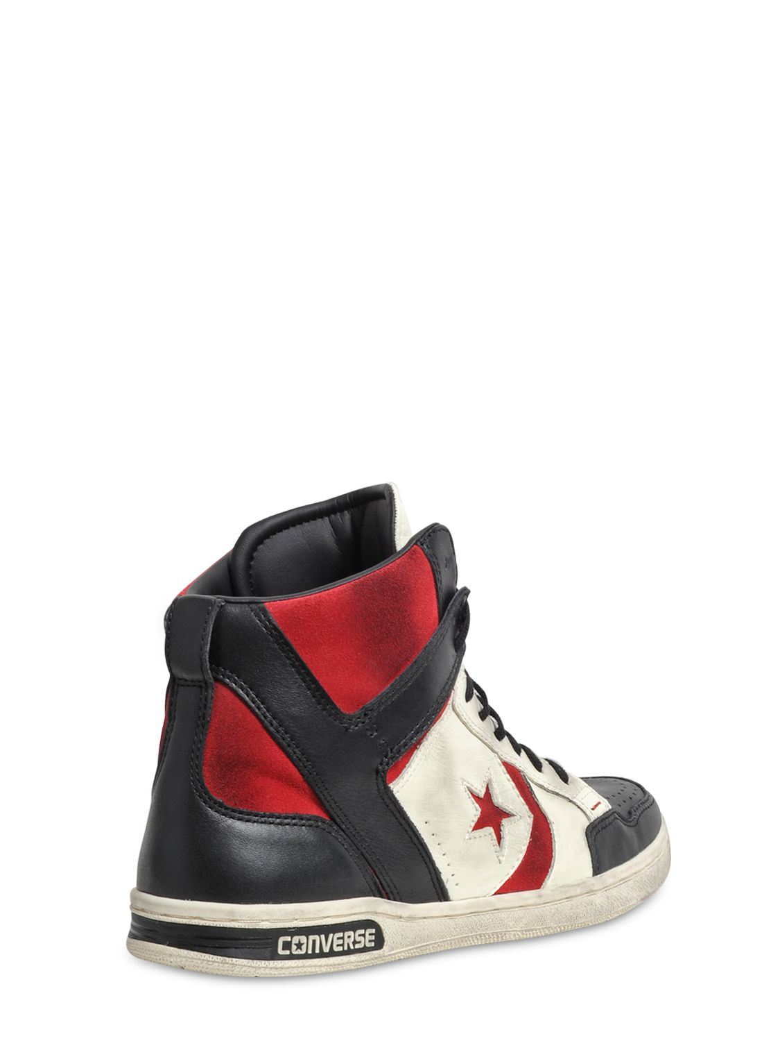 Converse Weapon Leather High Top Sneakers In White For Men