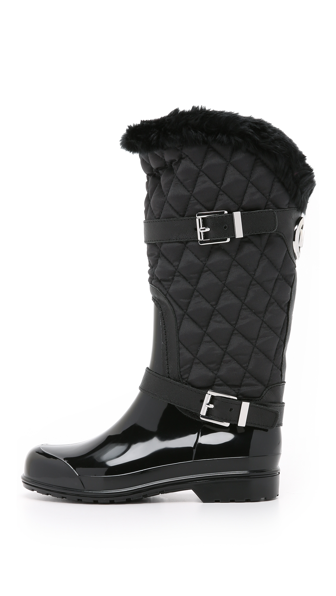 MICHAEL Michael Kors Fulton Quilted Mid Rain Boots in Black