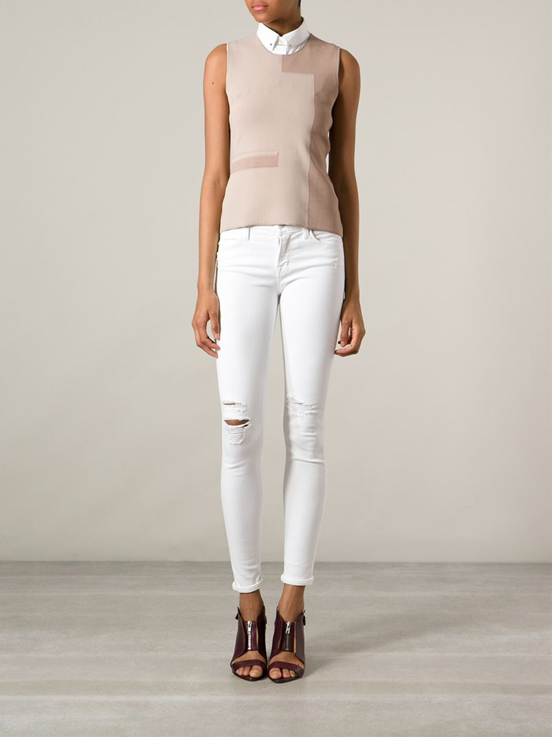 J brand Distressed Skinny Jeans in White | Lyst