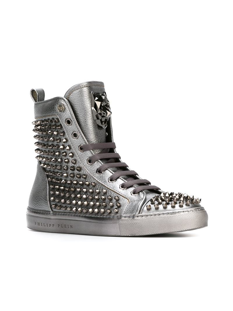 philipp plein car hightop sneakers in metallic lyst