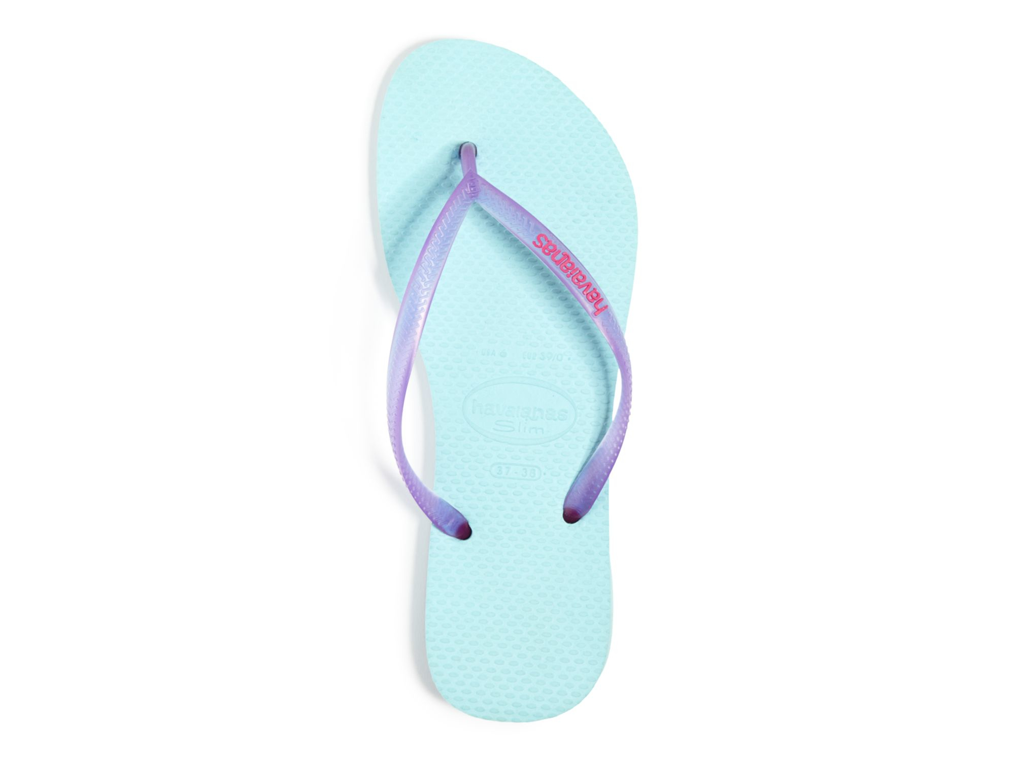 e22a64ff33227 Lyst - Havaianas Flip Flops - Slim Logo Pop Up in Purple