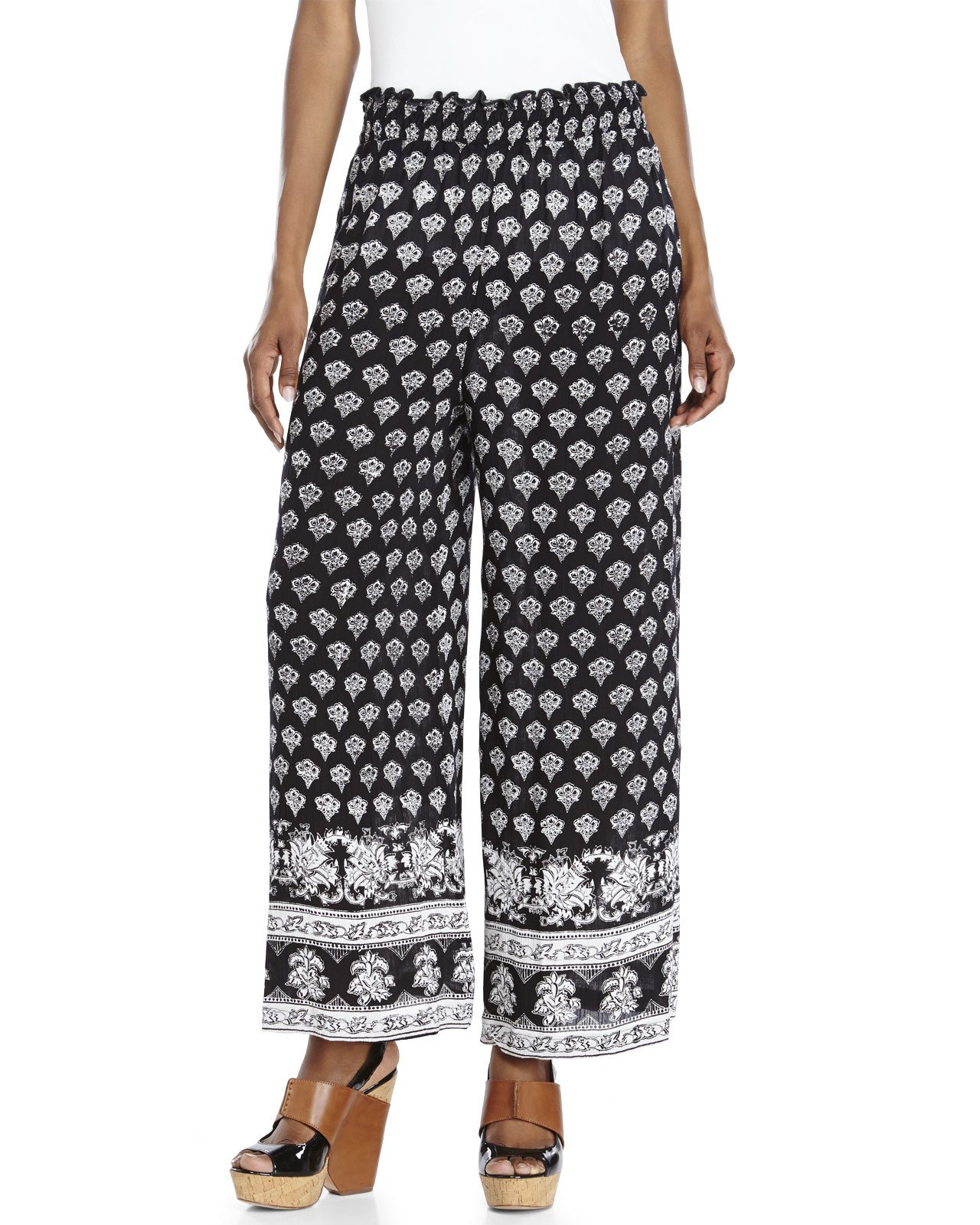 Lyst Angie Smock Waist Printed Palazzo Pants In Black