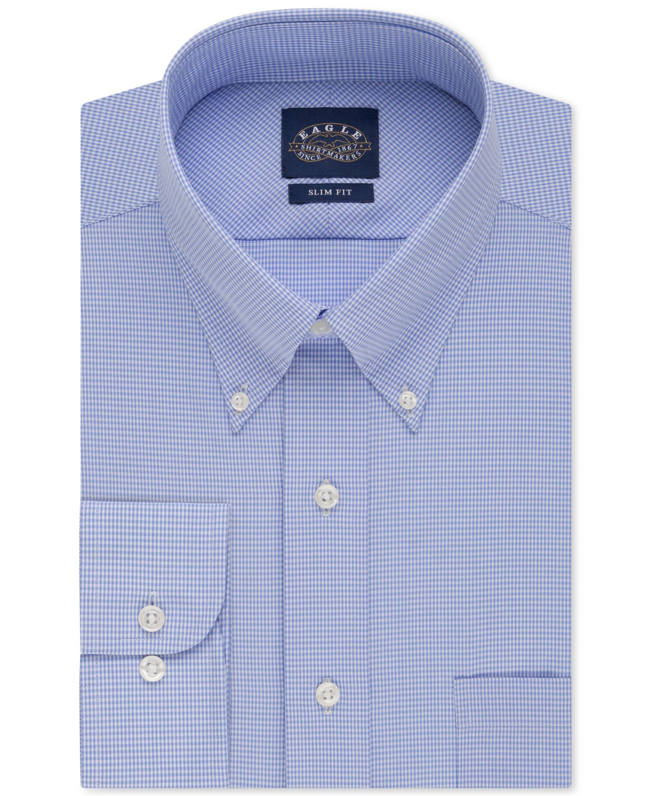 Eagle Slim Fit Non Iron Blue Gingham Dress Shirt In Blue