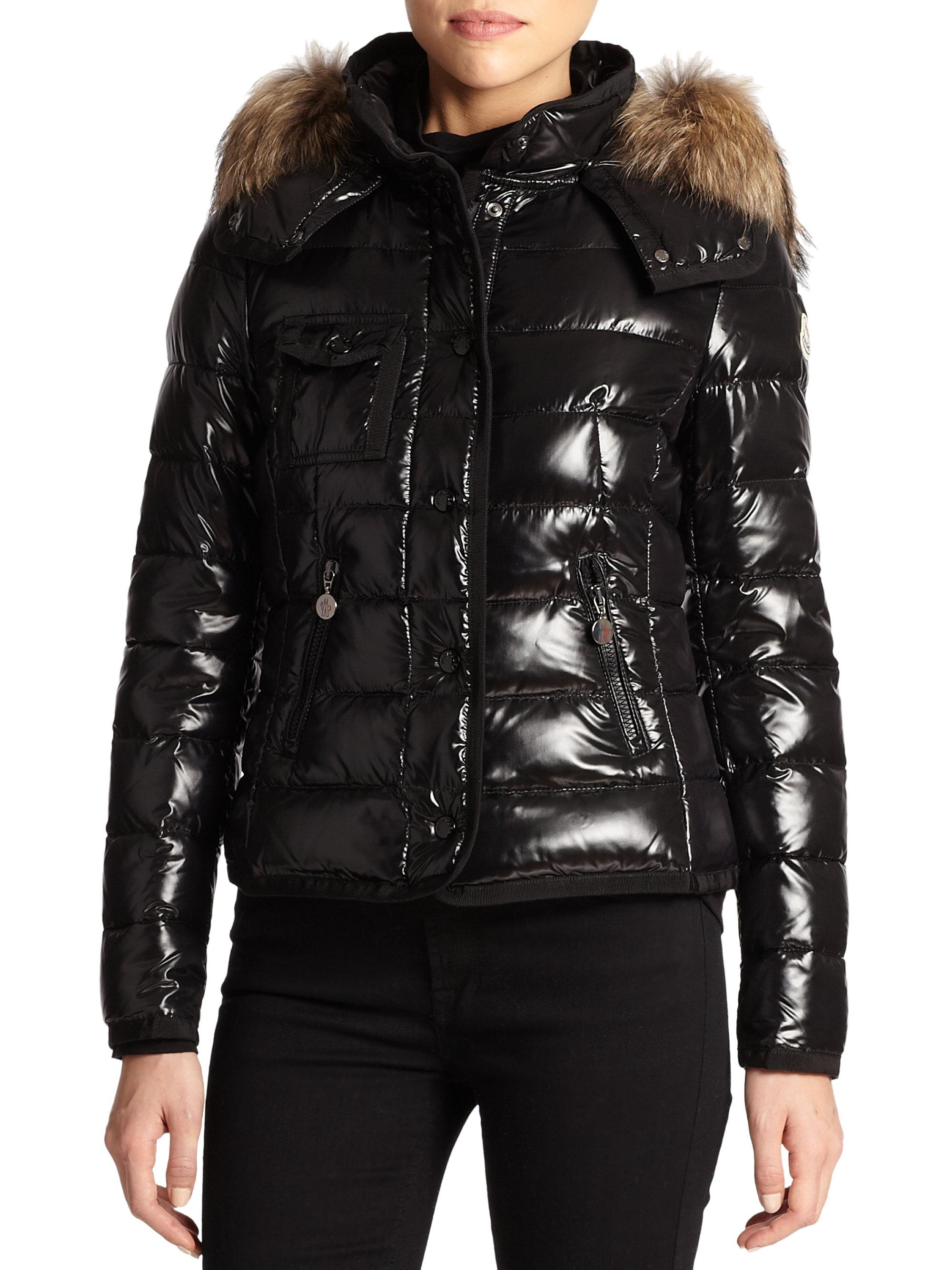 f2510b45a Moncler Black Armoise Fur-Trim Puffer Jacket