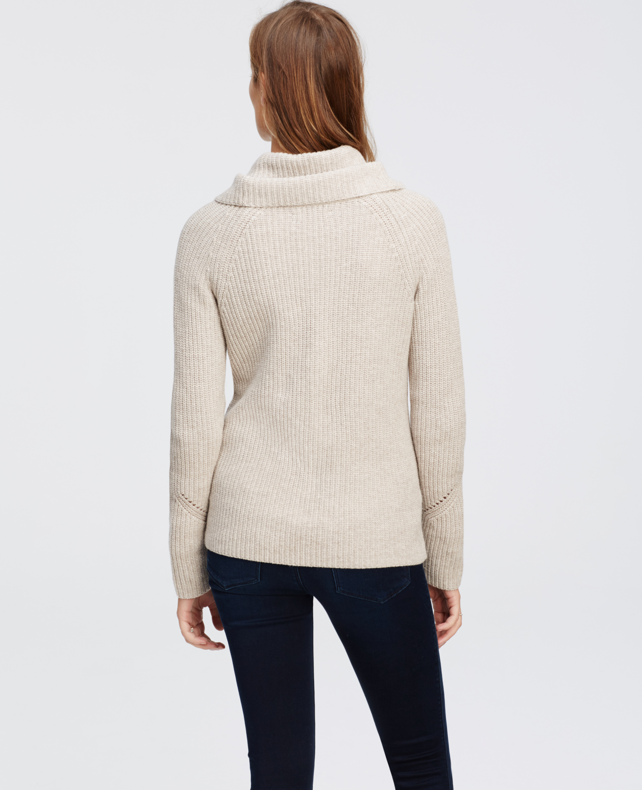 Ann taylor Petite Cowl Neck Sweater in Natural | Lyst