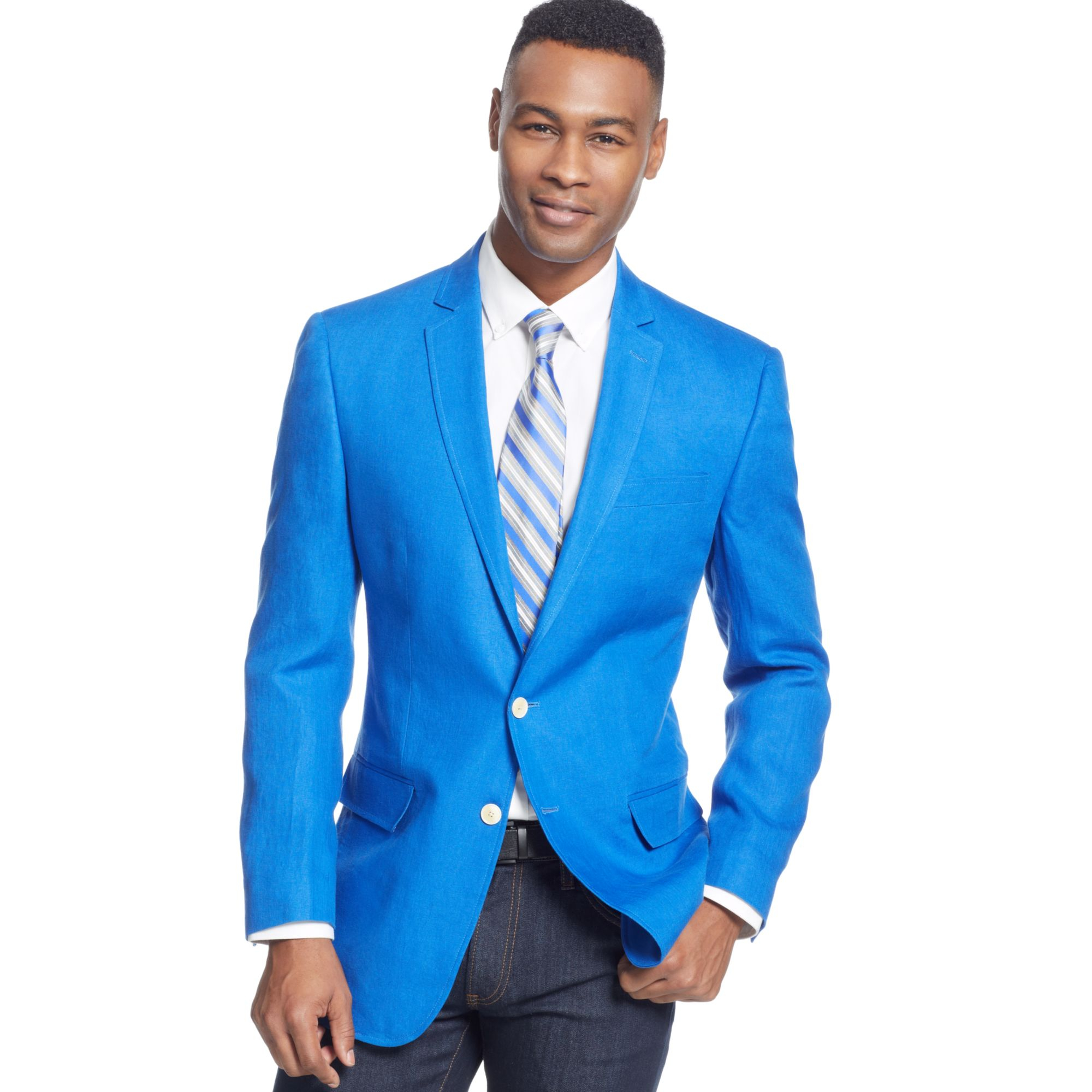 Sean john Color Linen Sport Coat in Blue for Men | Lyst