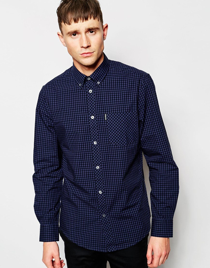 Lyst Ben Sherman Shirt With Gingham Check In Blue For Men