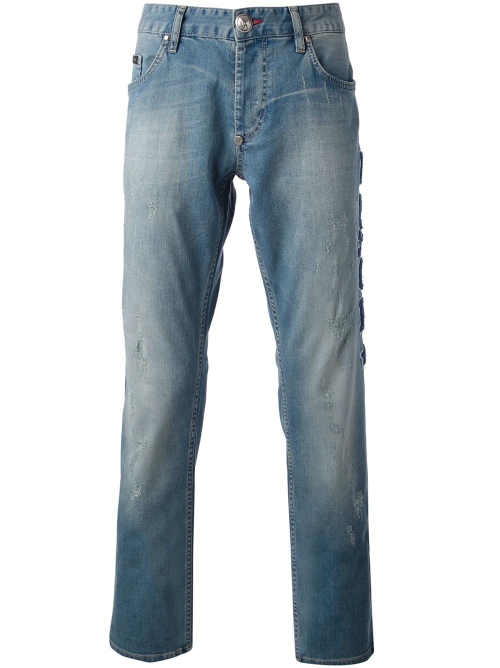 lyst philipp plein fck straight leg jeans in blue for men. Black Bedroom Furniture Sets. Home Design Ideas