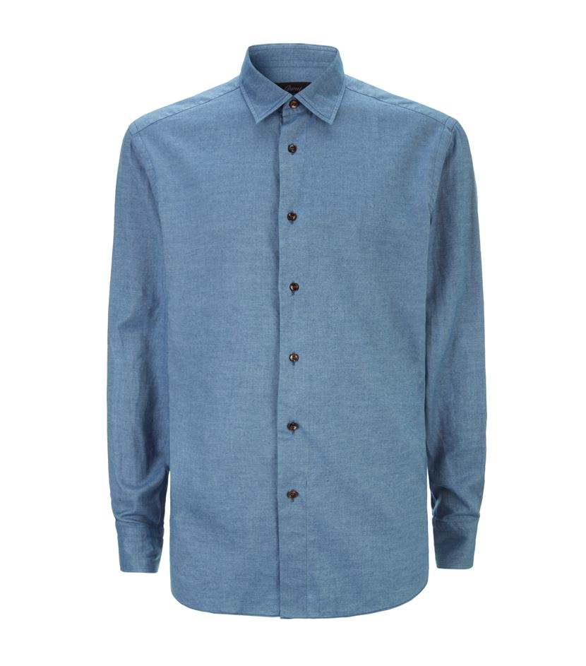 Brioni Brushed Twill Shirt In Blue For Men Lyst