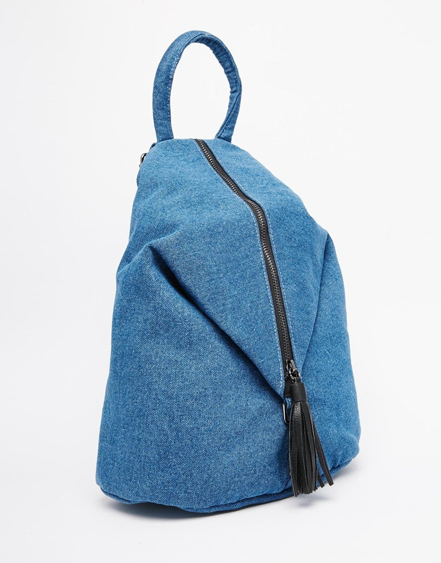 Asos Front Zip Backpack With Dog Clip And Tassel in Blue | Lyst