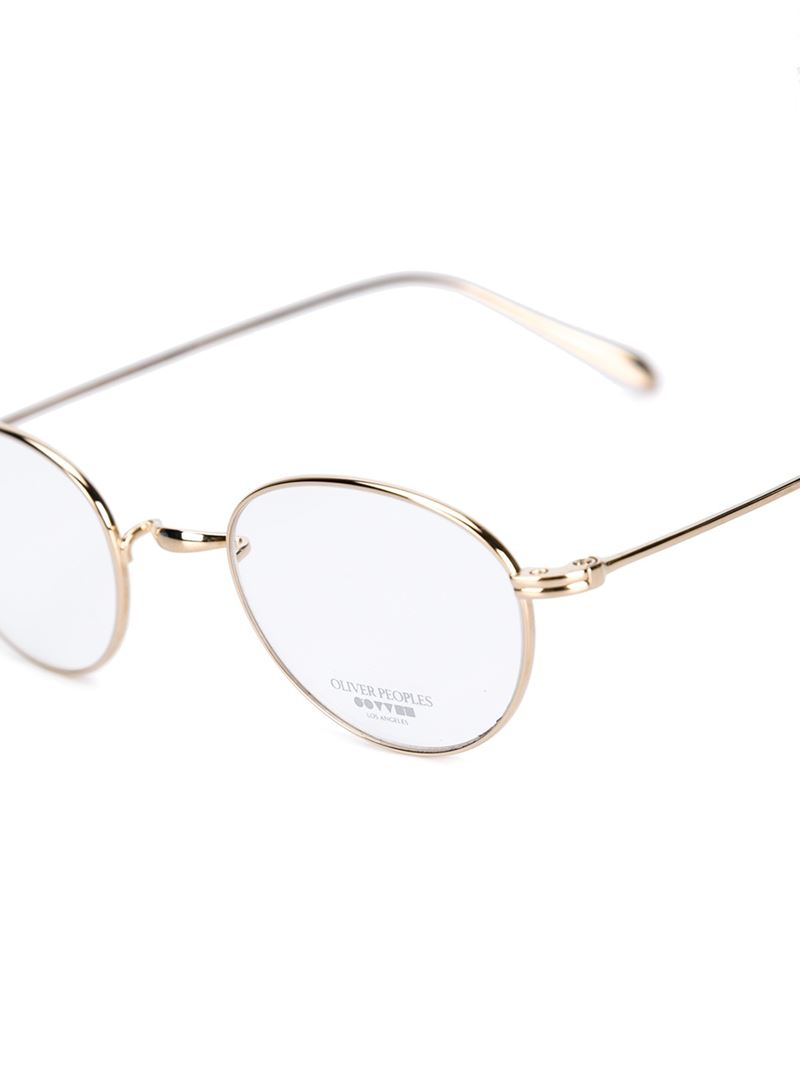 Lyst Oliver Peoples Round Frame Optical Glasses In Metallic