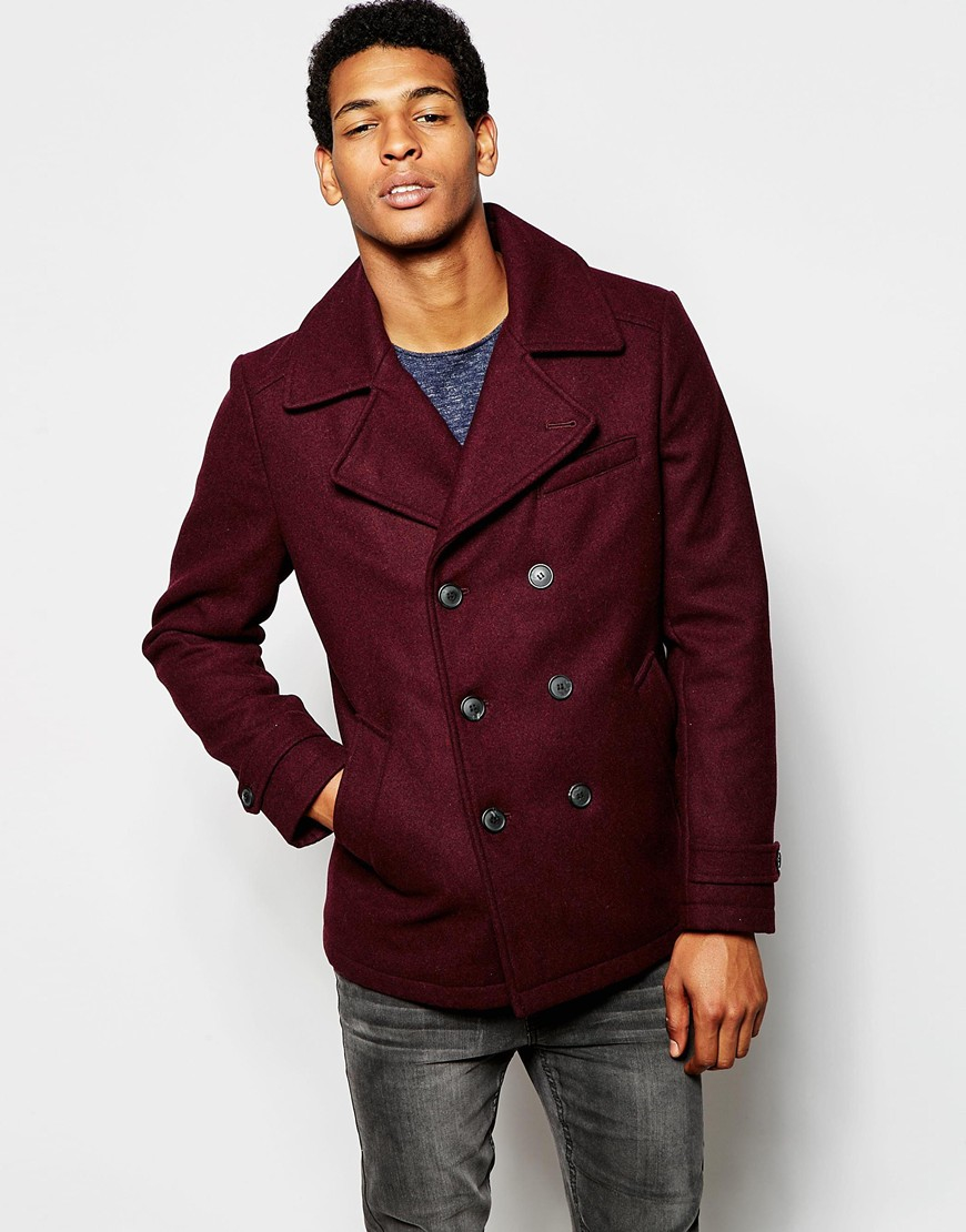 Selected Wool Mix Peacoat in Purple for Men   Lyst