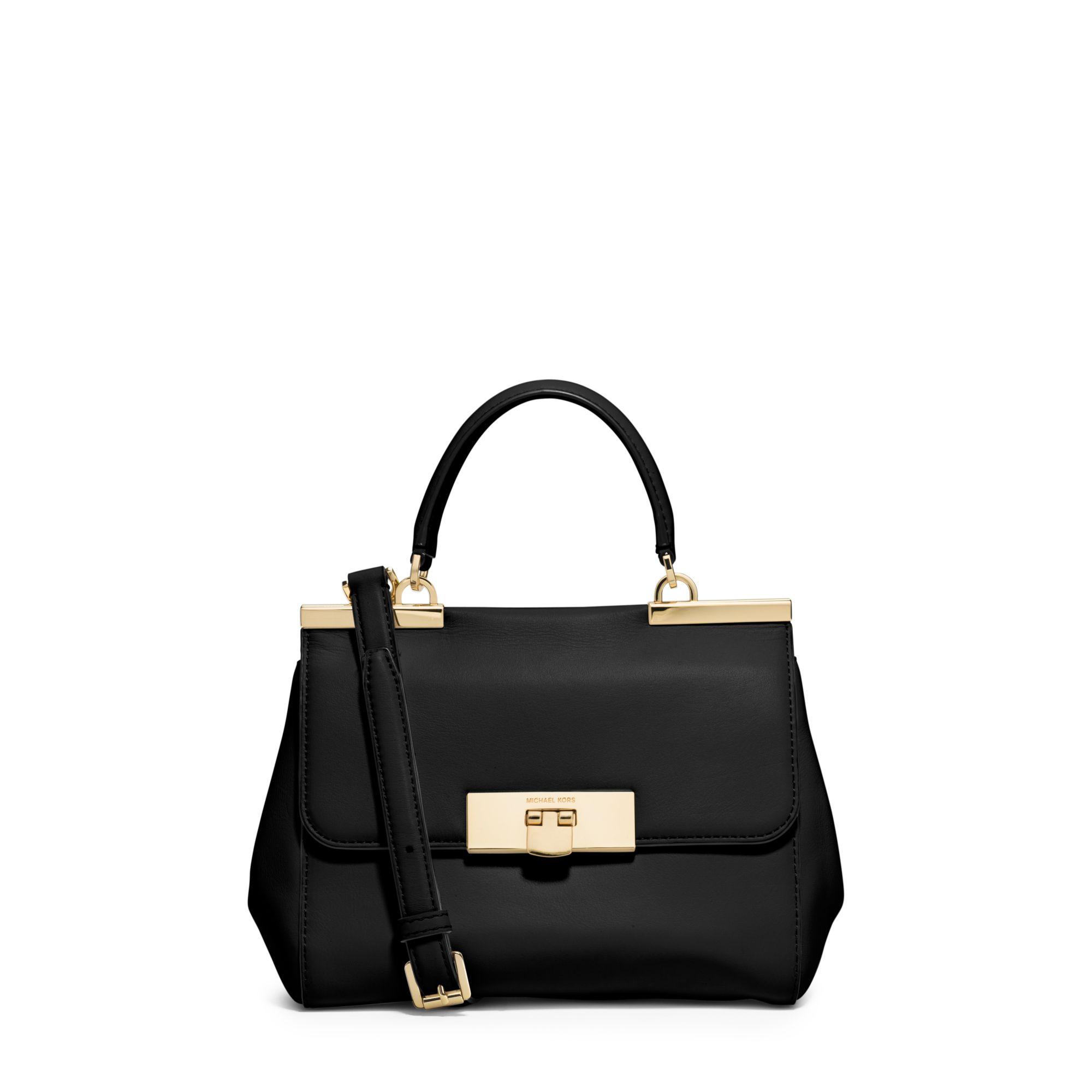 d116e3d4d8 ... where to buy lyst michael kors marlow small leather satchel in black  5af0d 0de9d ...