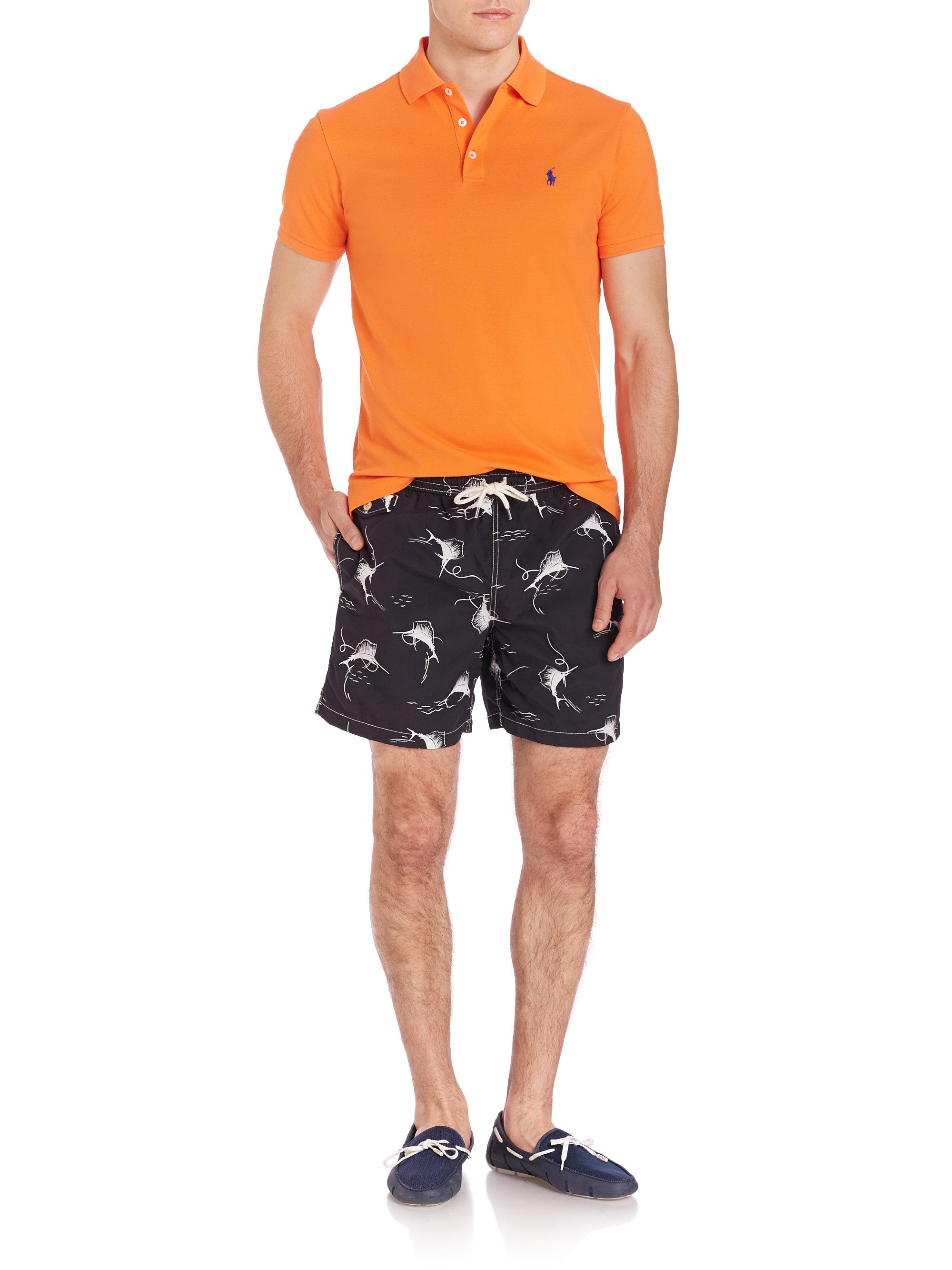 polo ralph lauren black swordfish print traveler swim trunks for men. Black Bedroom Furniture Sets. Home Design Ideas