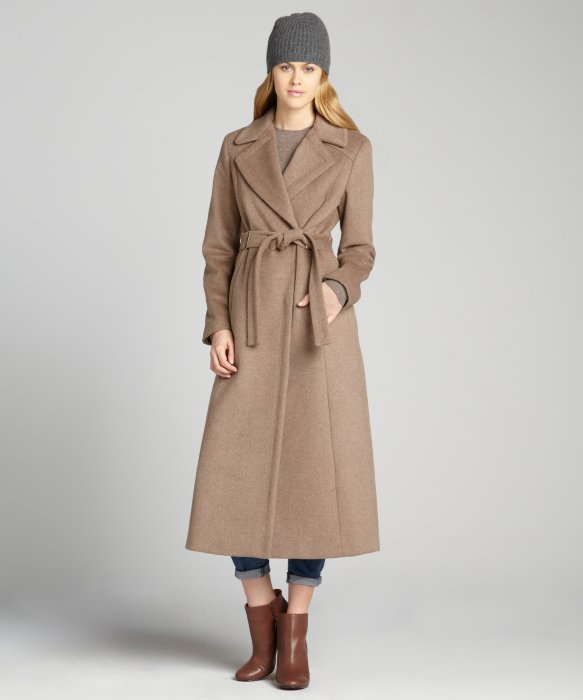 Calvin klein Oatmeal Belted Maxi Wool Coat in Natural | Lyst
