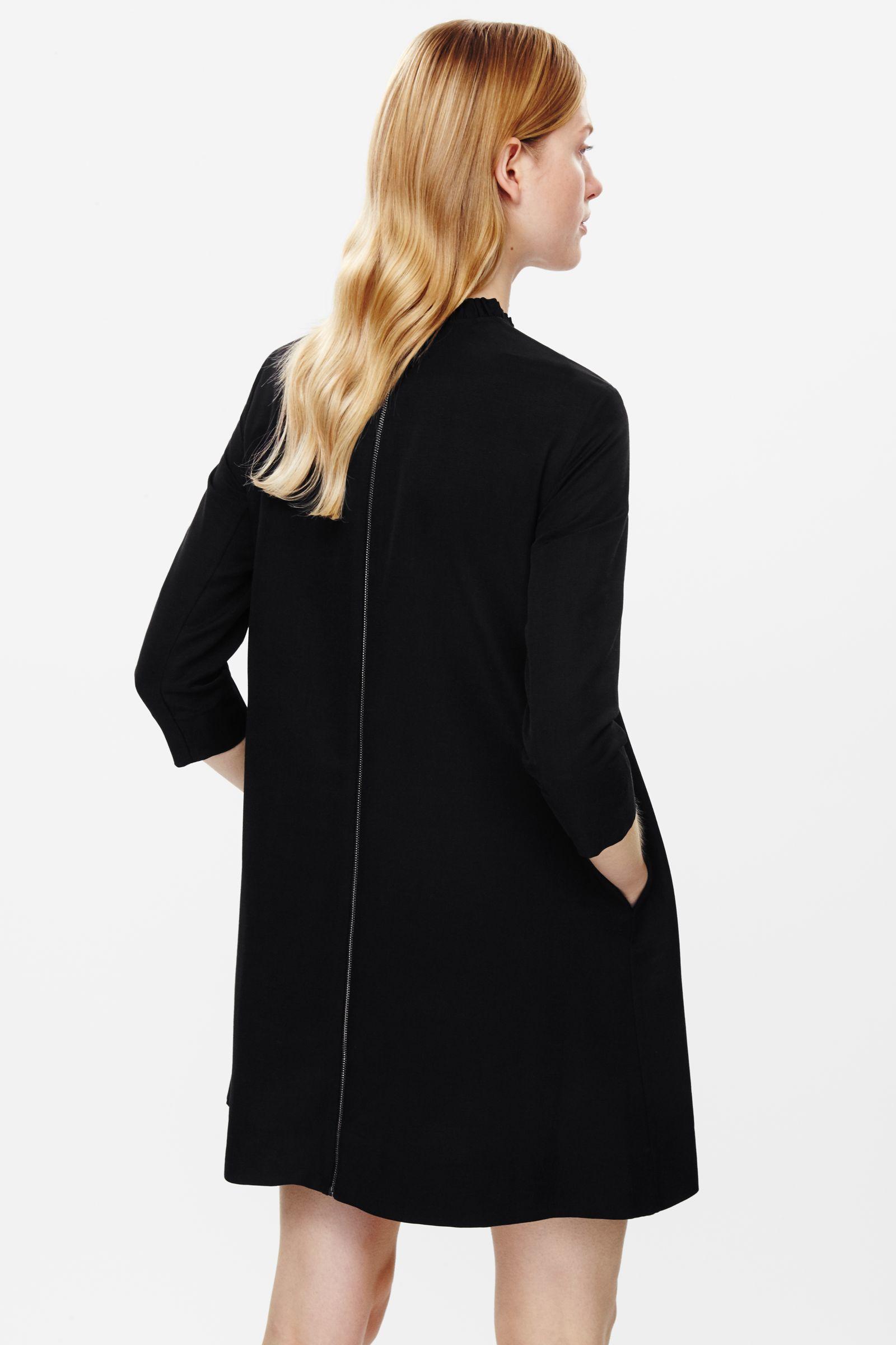 Cos Frill Collar Dress in Multicolor (Black)