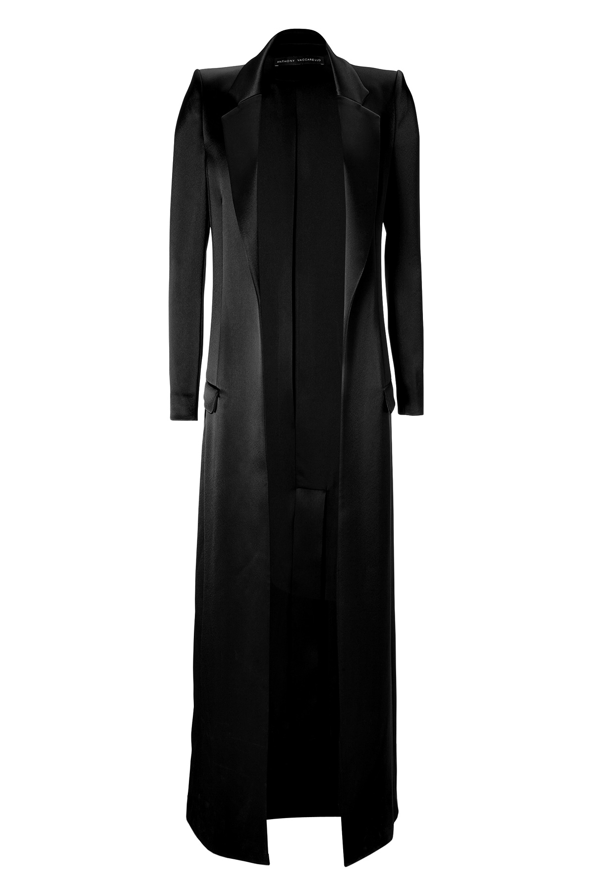 Anthony Vaccarello Satin Floor Length Coat   Black In Black | Lyst