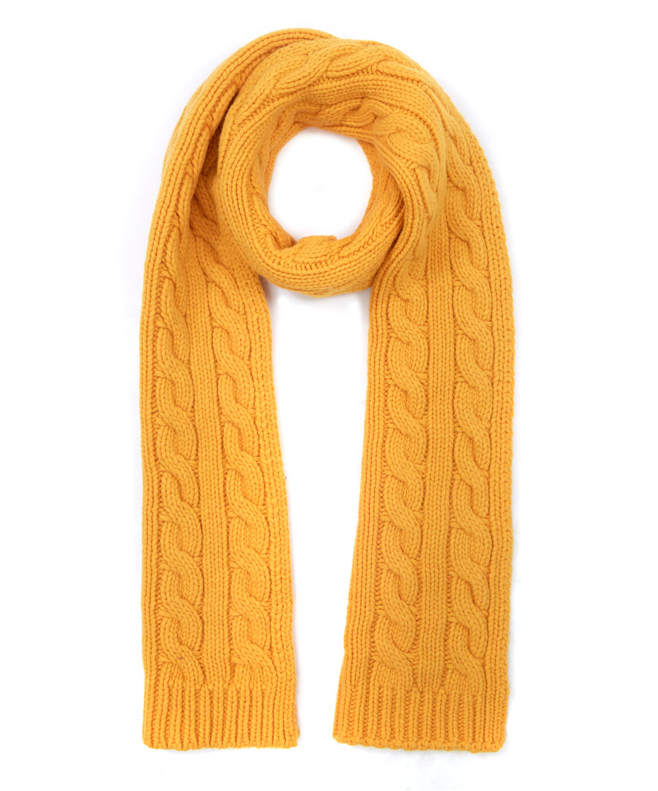 oliver spencer yellow cable knit scarf in yellow for