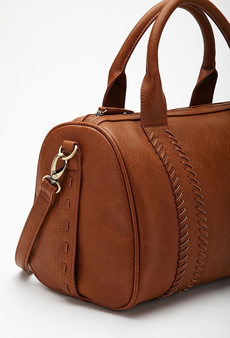 Forever 21 Stitched Faux Leather Satchel in Brown   Lyst