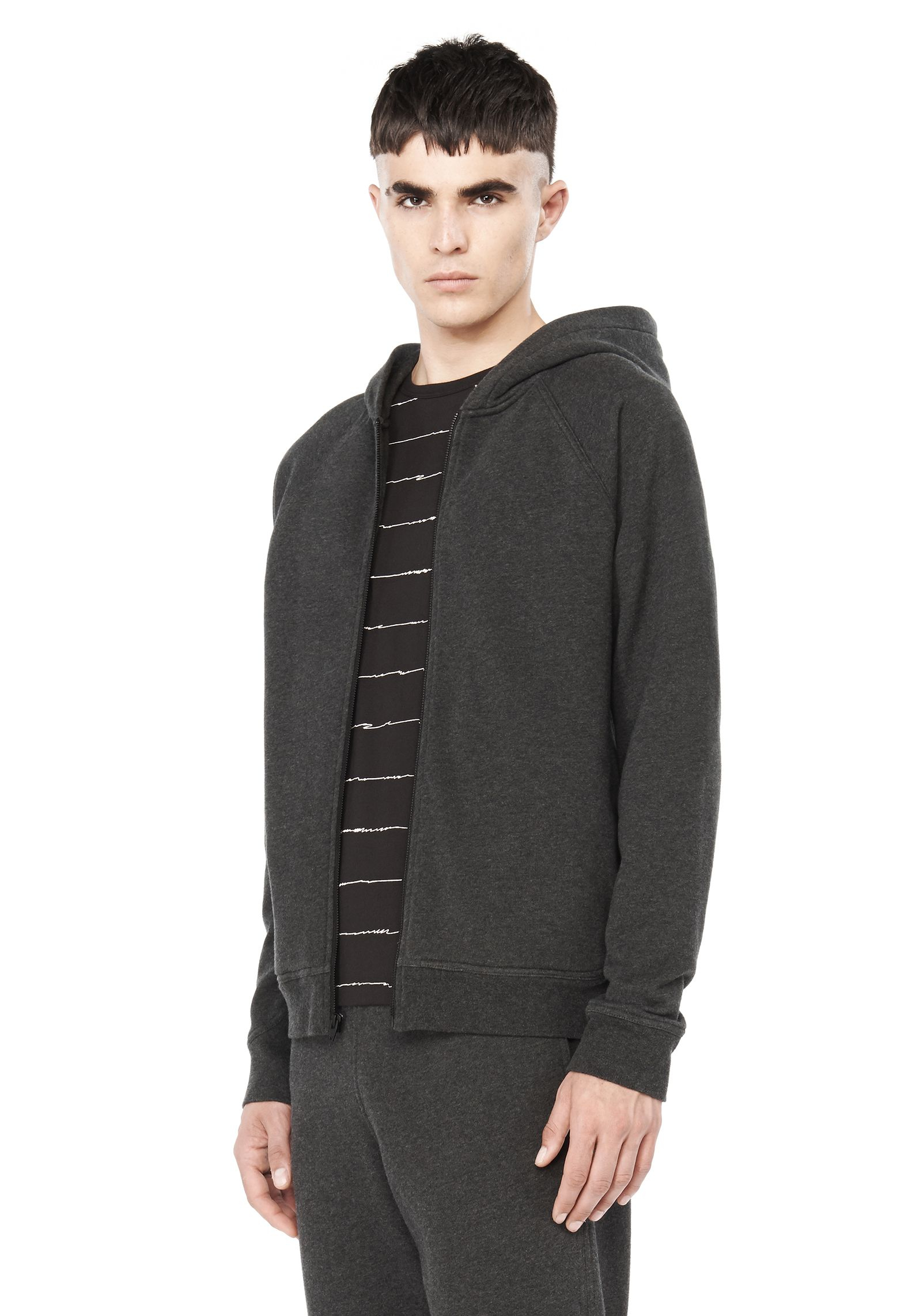 lyst t by alexander wang vintage fleece zip up hoodie in. Black Bedroom Furniture Sets. Home Design Ideas
