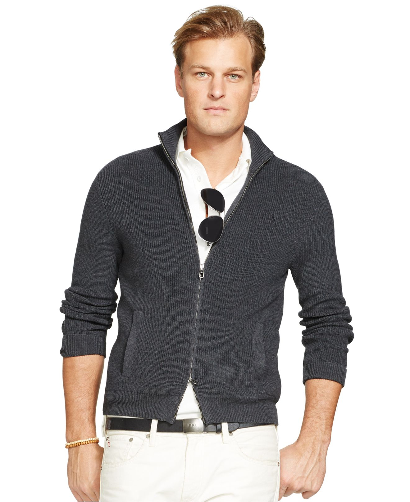 Polo ralph lauren Full-Zip Cotton Sweater in Gray for Men | Lyst