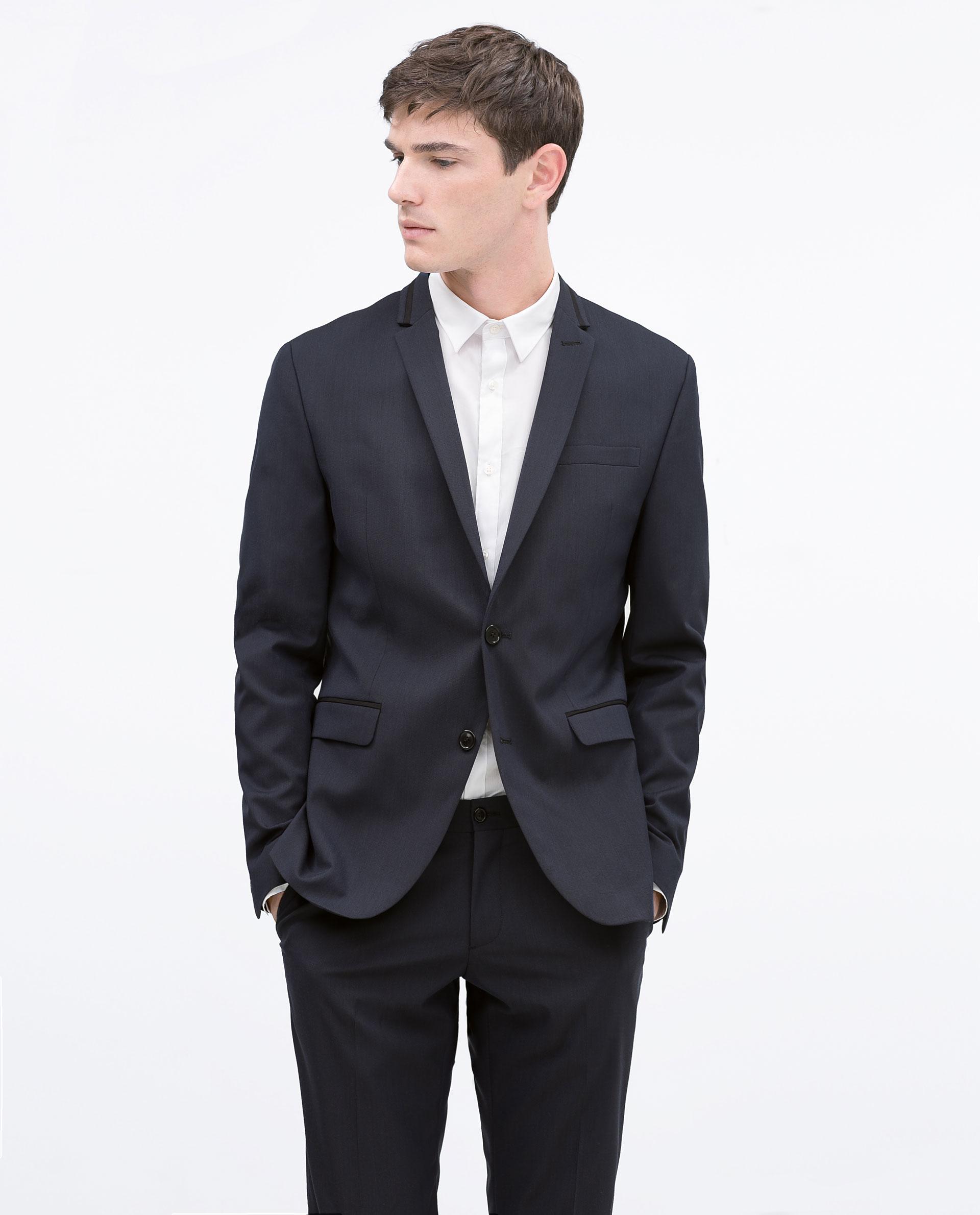 Zara Navy Blazer In Blue For Men (Navy Blue) | Lyst