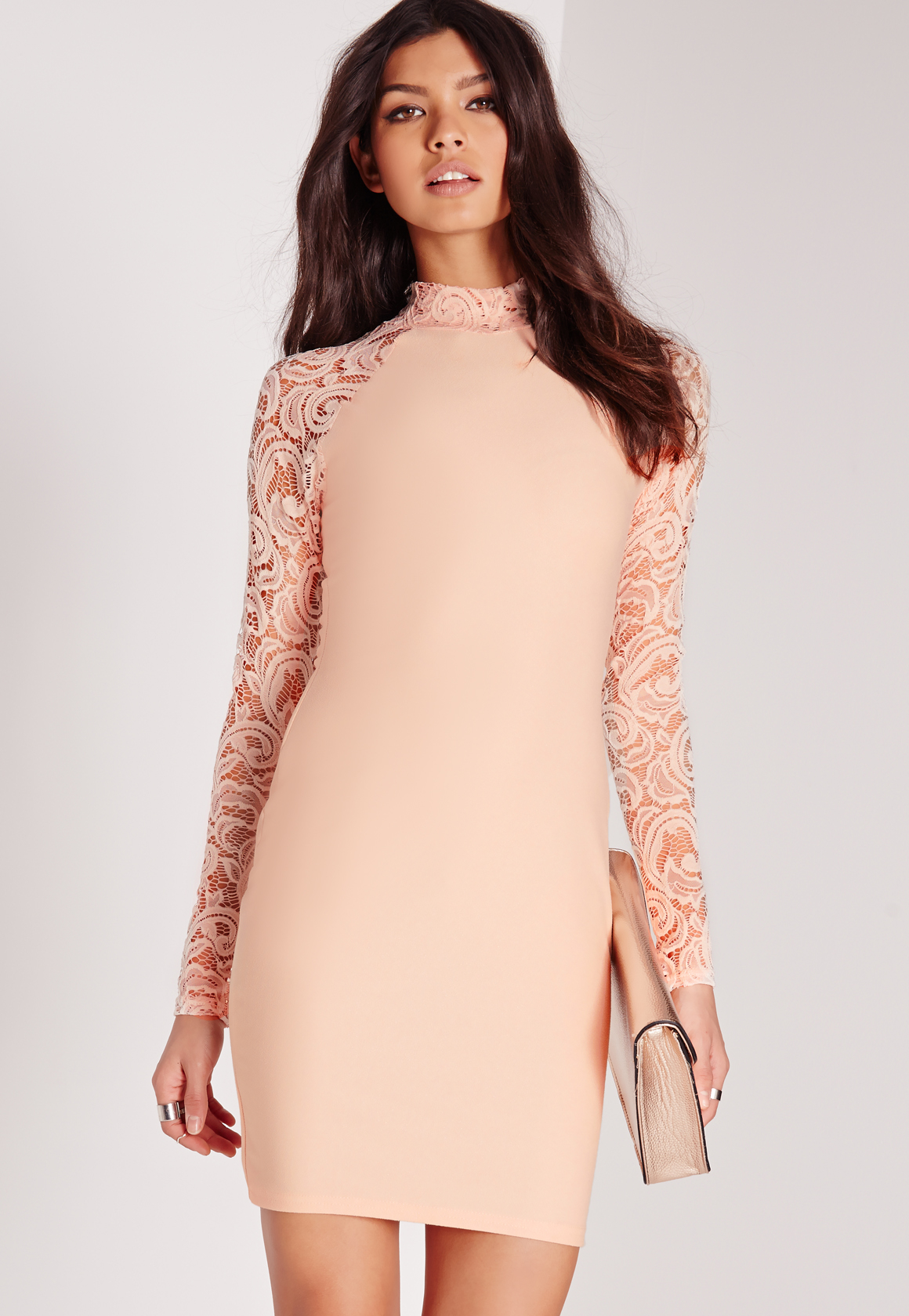 d58c6022bc Lyst - Missguided Lace Long Sleeve Bodycon Dress Nude in Pink