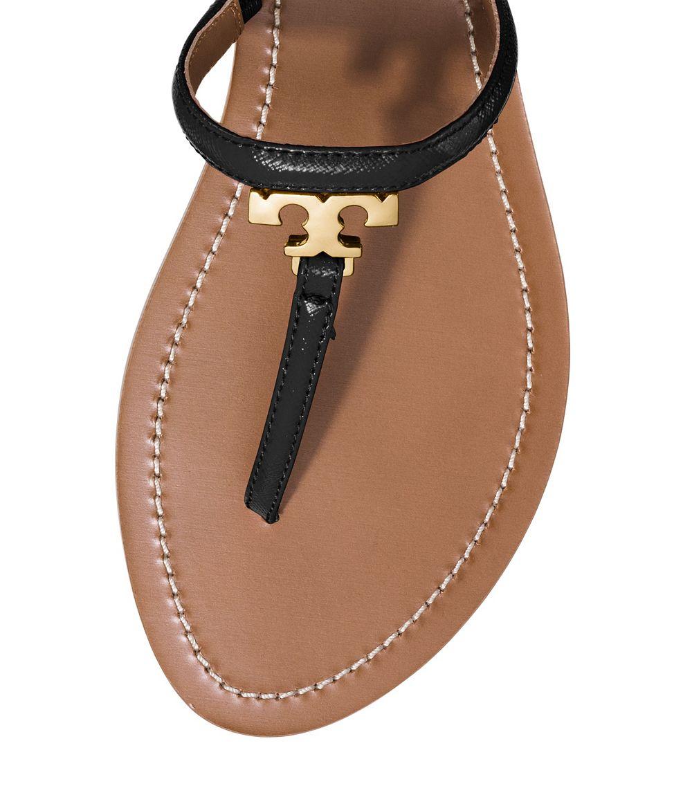 Gallery - Tory Burch T Logo Flat Thong Sandal In Black Lyst