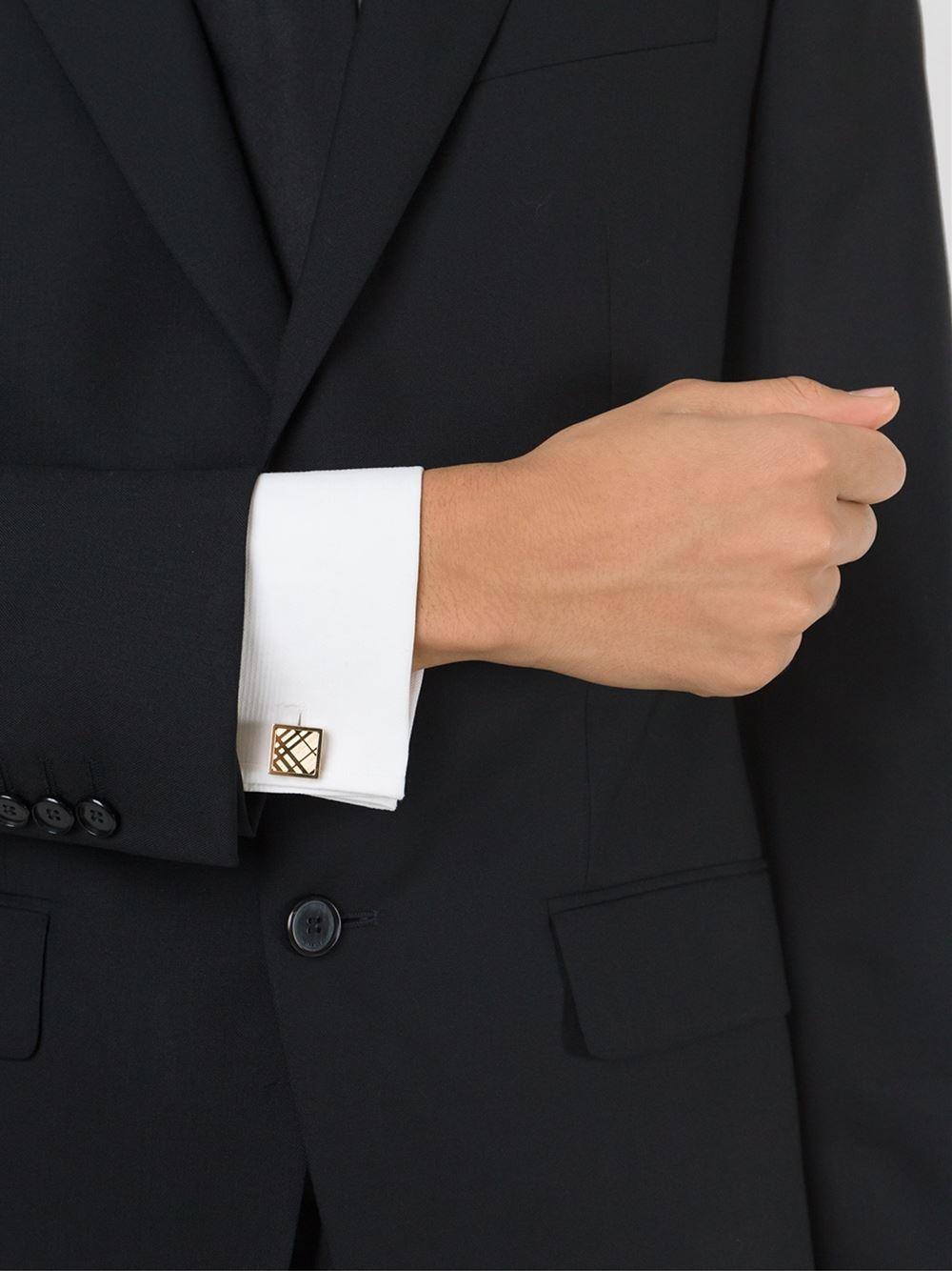 Burberry Check-engraved Square Cufflinks, Grey