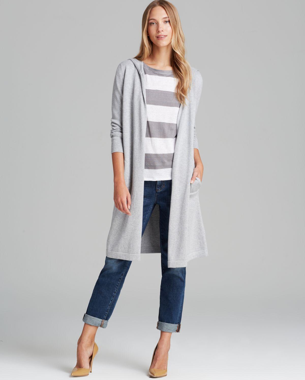 Eileen fisher Hooded Long Cardigan in Gray | Lyst