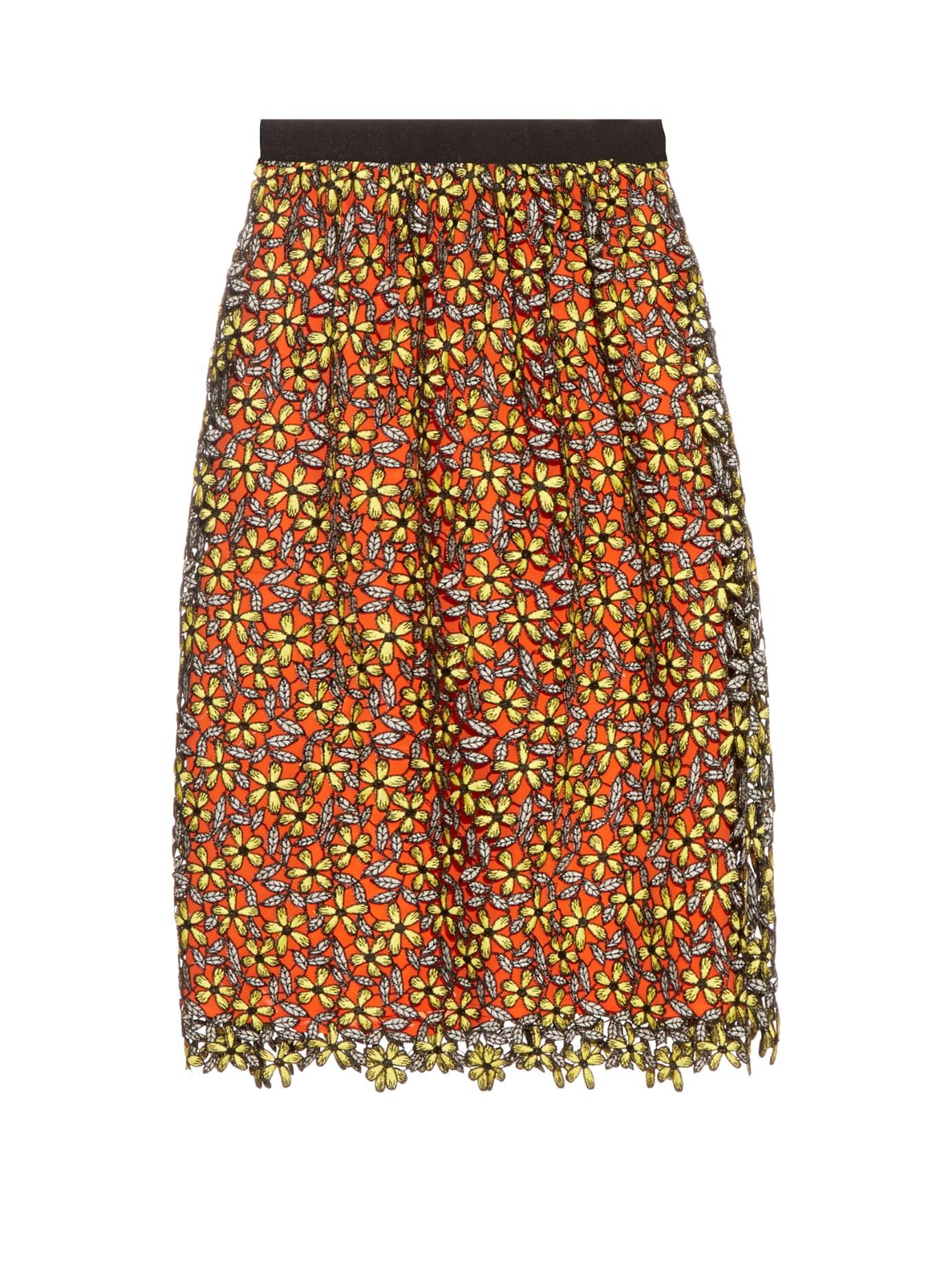 self portrait guipure lace midi skirt in yellow lyst